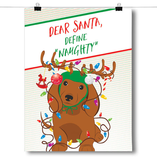 Dear Santa Define Naughty - Christmas Dachshund