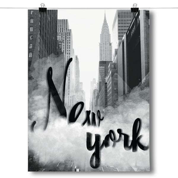 Cloudy New York - Black & White