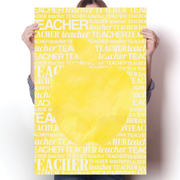 Apple Silhouette - Yellow Watercolor