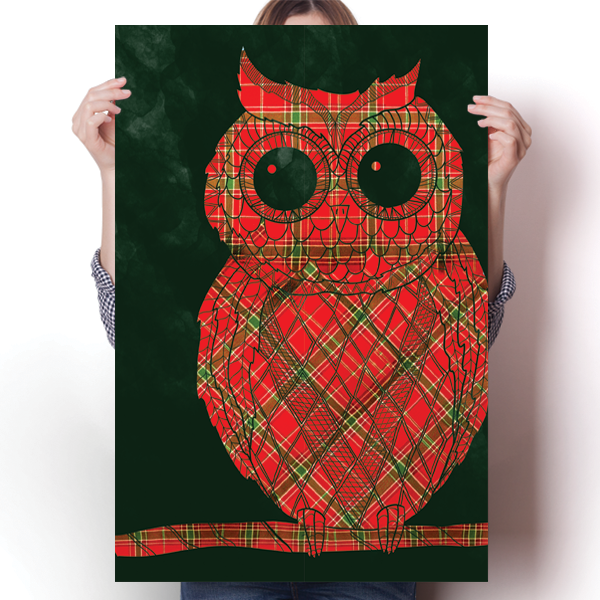 Vintage Damask Christmas Plaid Owl