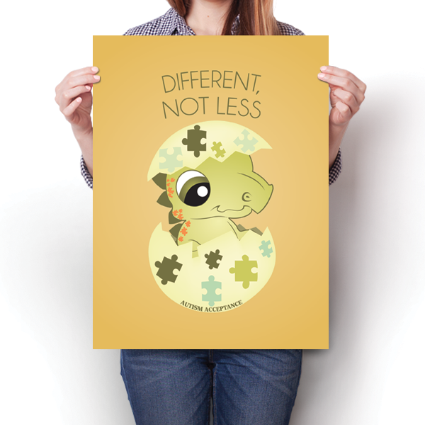 Different Not Less - Autism Awareness Dinosaur