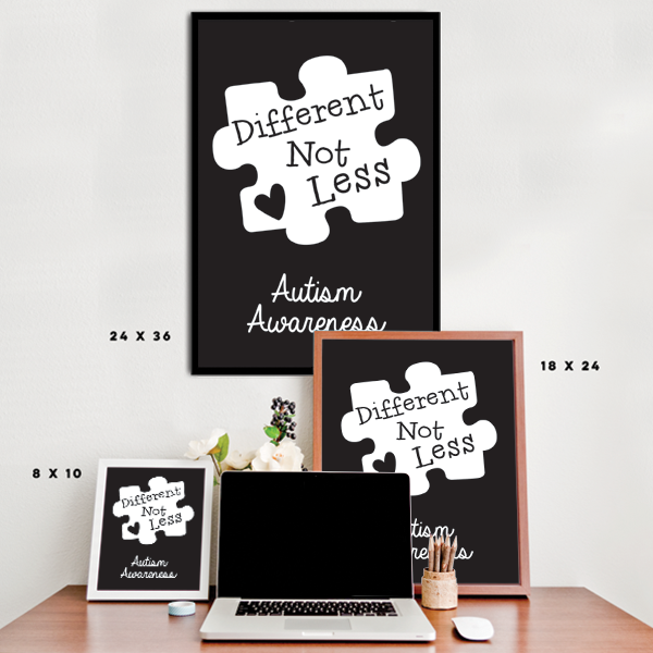Different Not Less - Black Autism Awareness Puzzle Piece