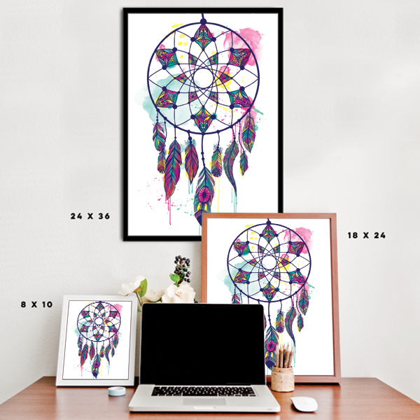 Watercolorful Dreamcatcher - White