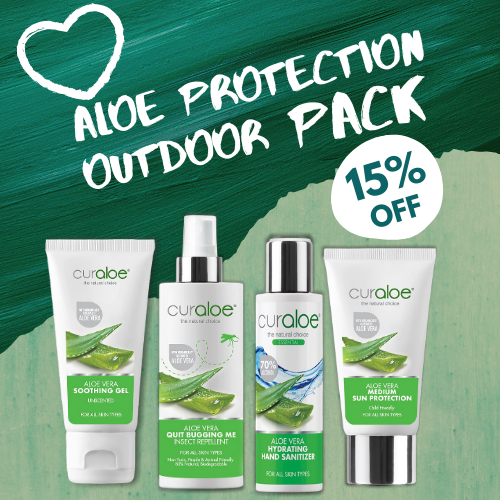 Aloe Protection Outdoor Pack - Soothing Aloe Vera Gel 75 ml / Quit Bugging Me 125ml / Medium Sun Protection 50ml / Hydrating Waterless Hand Sanitiser 100ml
