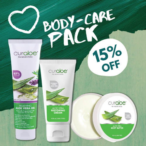 Aloe Vera Body Care Pack - Relieivng Gel / Body Butter / Restoring Cream