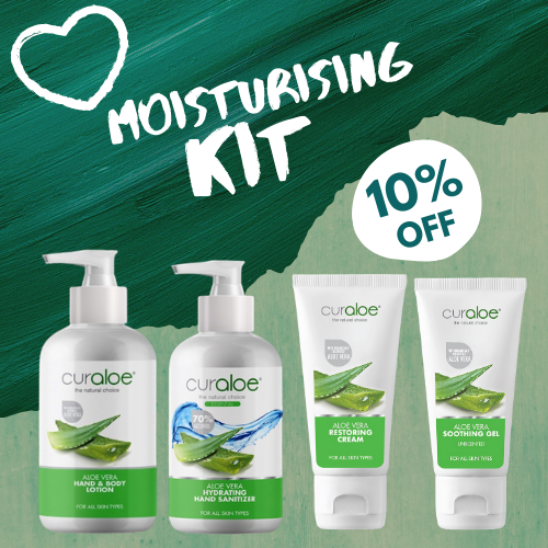 Moisturising Combo Kit (Hand & Body Lotion, Hand Sanitiser 250ml Pump, Restoring Cream & Soothing Gel 75ml)