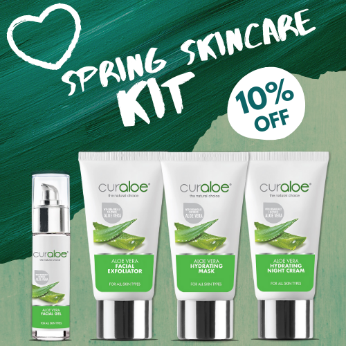 Curaloe Spring Skincare Combo (Curaloe Exfoliator 50ml, Curaloe Aloe Facial Gel 30ml, Curaloe Hydrating Mask 50ml, Curaloe Hydrating Night Cream)