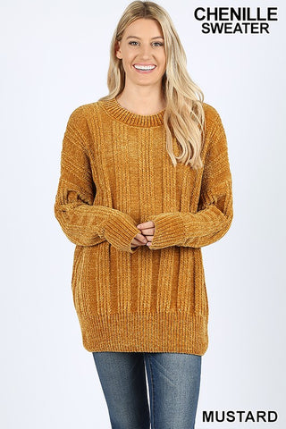 Stacy Chenille Sweater in Mustard
