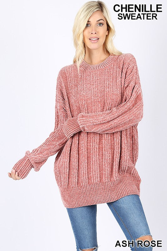 Stacy Chenille Sweater in Rose