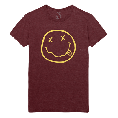 Smiley Tee - Heather Burgandy