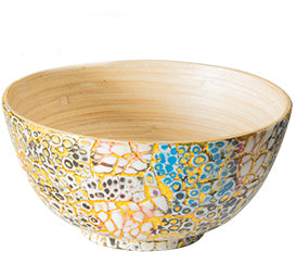 Bamboo and Eggshell Bowl Pair