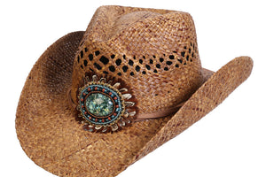 Navajo Western Bead and Feather Raffia Hat