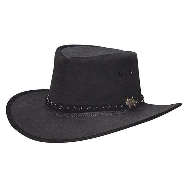 Conner Hats Aussie Hats Black / Small BC Hats Stockman Suede Australian Leather Hat