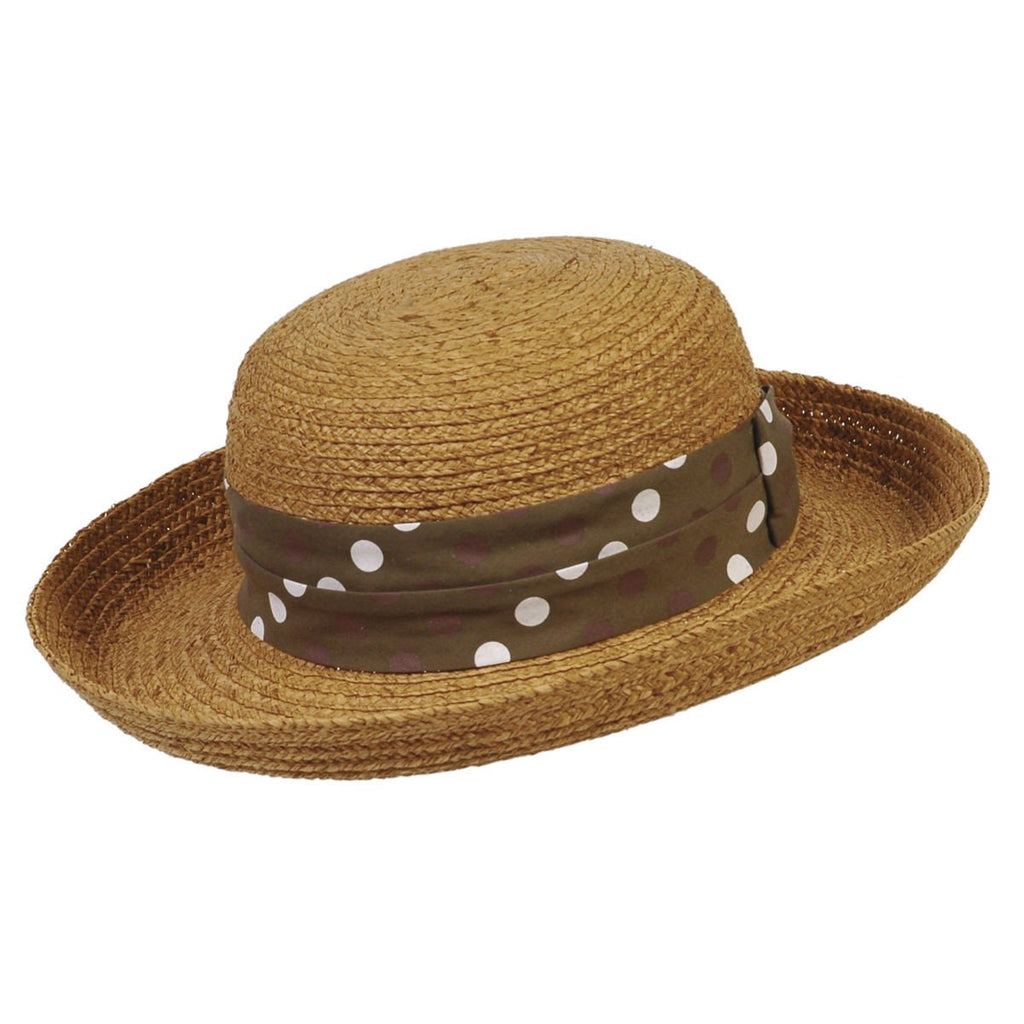 Conner Hats Beach Hats Brown / One Size Polk-a-Fun Ladies Raffia Summer Hat