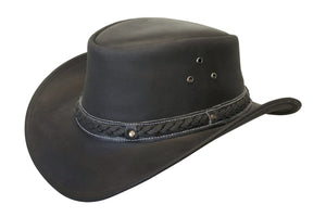 Conner Hats Outback Hats Black / Small Down Under Leather Hat