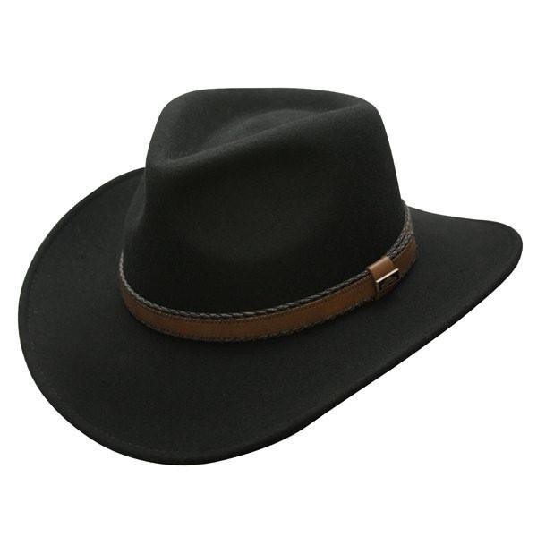 Conner Hats Outback Hats Black / Small Outback Creek Crushable Wool Hat