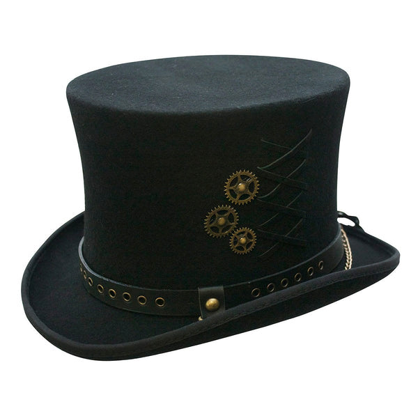 Conner Hats Steampunk Hats Black / XX-Large Steampunk Wool Top Hat