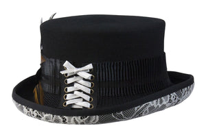 Conner Hats Steampunk Hats Black / One Size White Lace Victorian Steampunk Top Hat