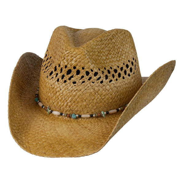 Conner Hats Western Hats Tea / One Size Gem Ladies Western Raffia Straw Hat