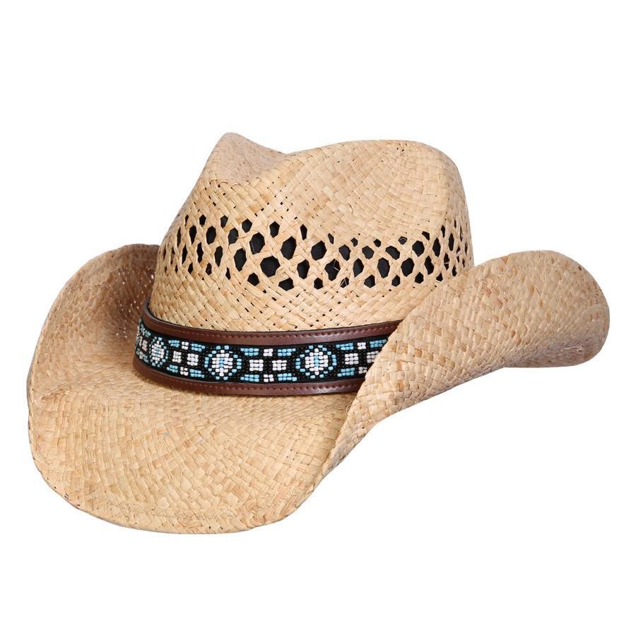 Conner Hats Western Hats Natural / One Size Mandala Bead Western Raffia Hat