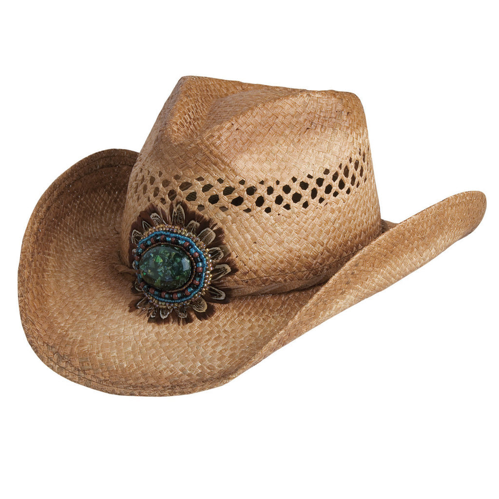 Conner Hats Western Hats Caramel / One Size Navajo Western Bead and Feather Raffia Hat