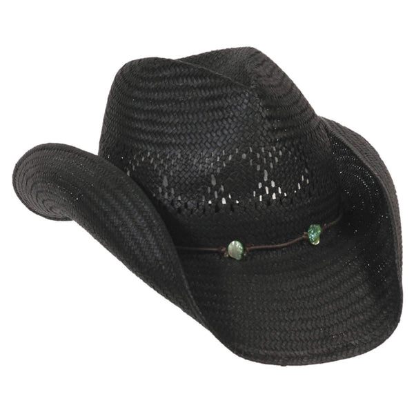Conner Hats Western Hats Black / One Size Strike! Western with Turquoise Nuggets Straw Hat