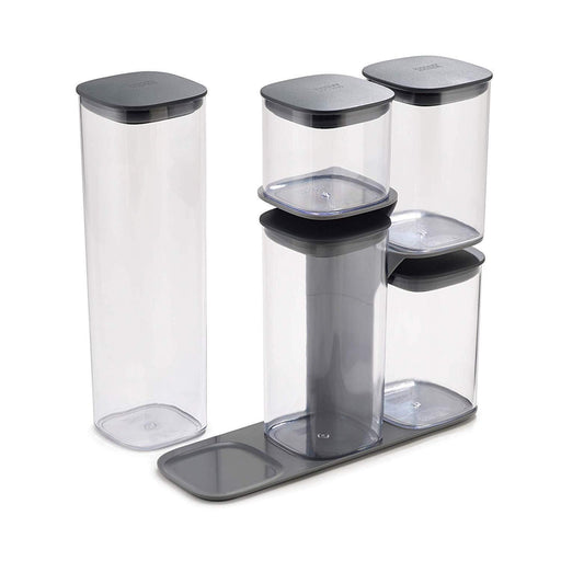 Joseph Joseph Podium 5-Piece Storage Jar Set with Stand - Grey-northXsouth Ireland