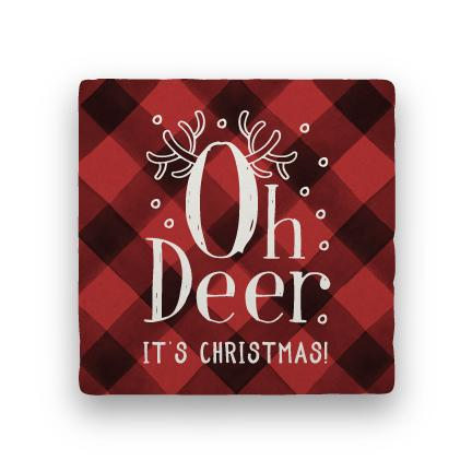 Oh Deer - Red-Holiday-Paisley & Parsley-Coaster
