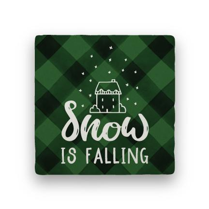 Snow Is Falling - Green-Holiday-Paisley & Parsley-Coaster