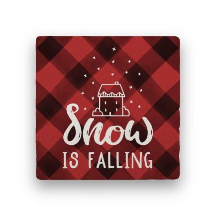 Snow Is Falling - Red-Holiday-Paisley & Parsley-Coaster