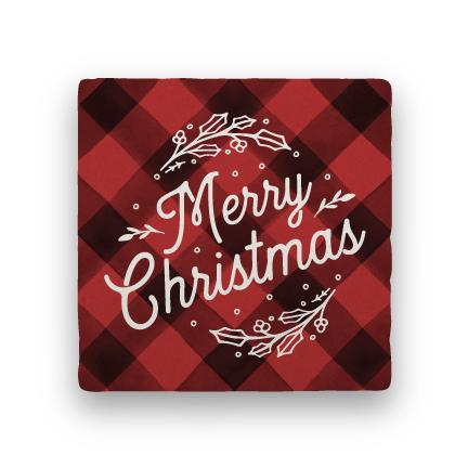 Merry Christmas - Red-Holiday-Paisley & Parsley-Coaster