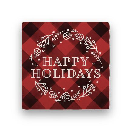 Happy Holidays - Red-Holiday-Paisley & Parsley-Coaster