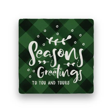 Seasons Greetings - Green-Holiday-Paisley & Parsley-Coaster