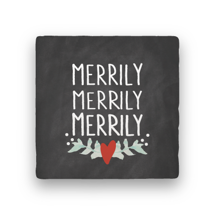 Merrily Merrily Merrily-Holiday-Paisley & Parsley-Coaster