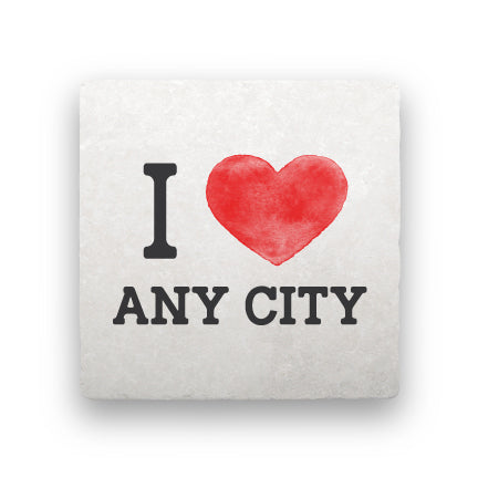 I Heart (Any City)-Personalized-Paisley & Parsley-Coaster