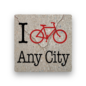 I Bike (Any City)-Personalized-Paisley & Parsley-Coaster