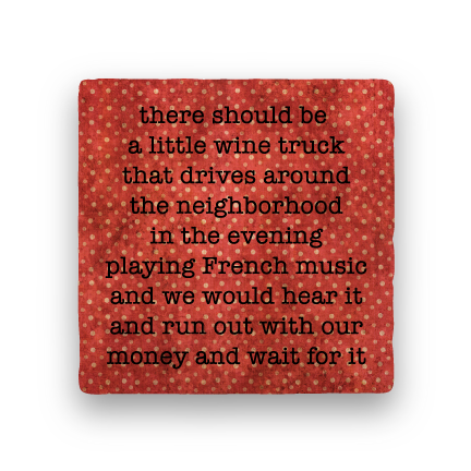 Wine Truck-Polka Spots-Paisley & Parsley-Coaster
