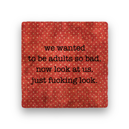 Wanted to Be Adults-Polka Spots-Paisley & Parsley-Coaster