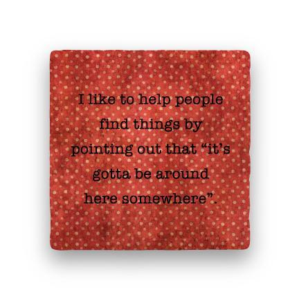 Help People-Polka Spots-Paisley & Parsley-Coaster