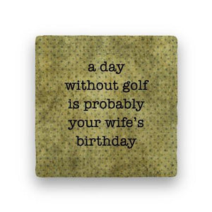 Day Without Golf-Polka Spots-Paisley & Parsley-Coaster