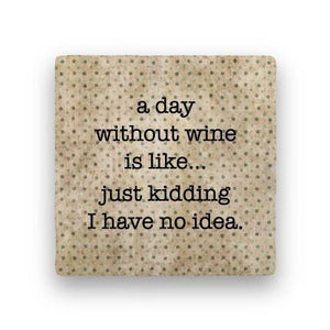Day Without Wine-Polka Spots-Paisley & Parsley-Coaster