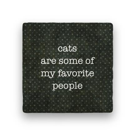 Cats Favorite People-Polka Spots-Paisley & Parsley-Coaster