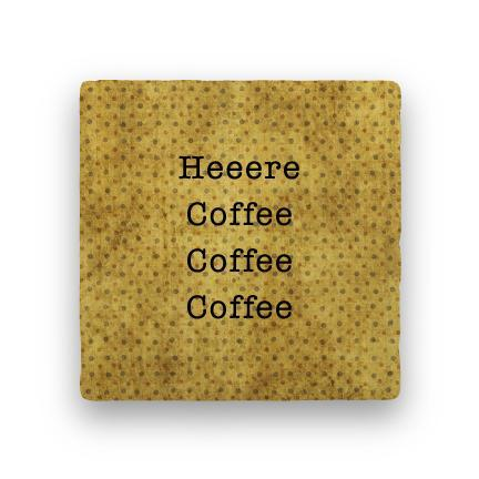 Heeere Coffee-Polka Spots-Paisley & Parsley-Coaster
