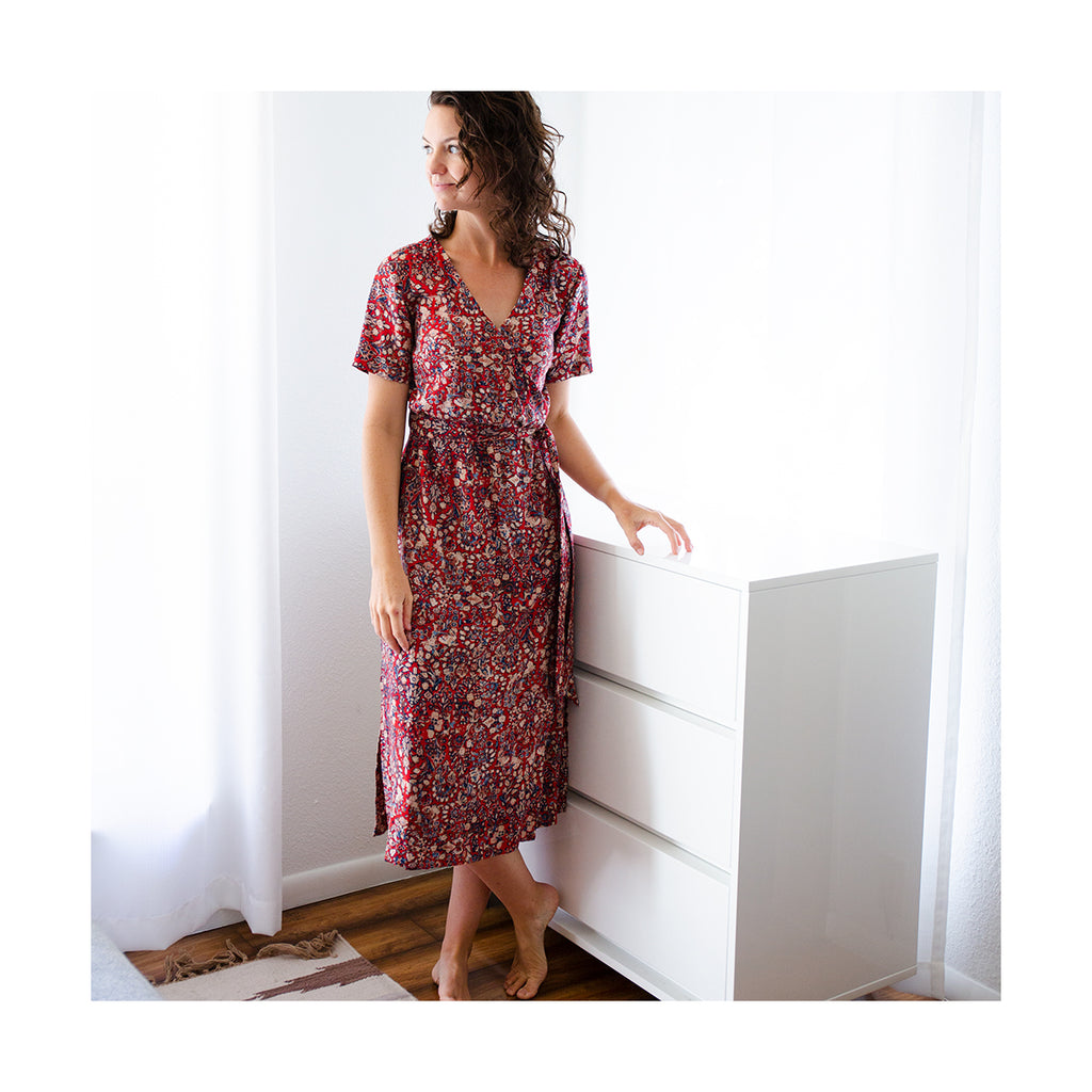 Highlands Wrap Dress in Rayon Challis Fabric
