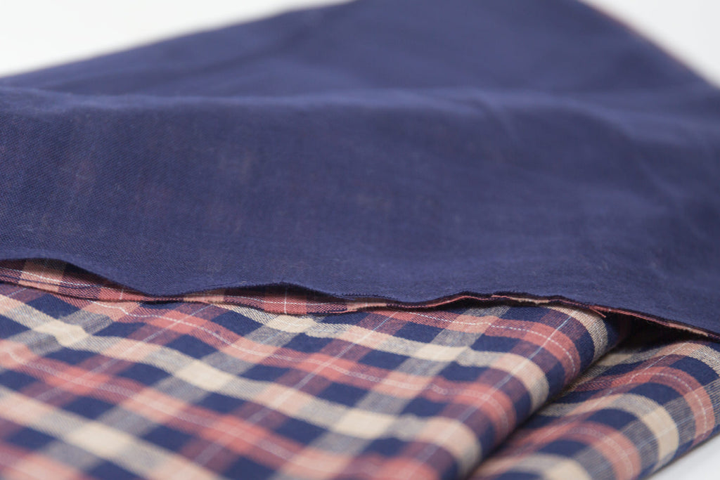 Navy and Rose Double Cloth Fabric