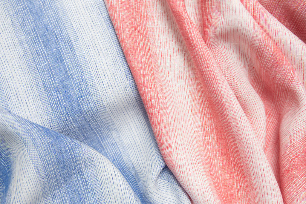 Blue and Red Striped Linen Fabric