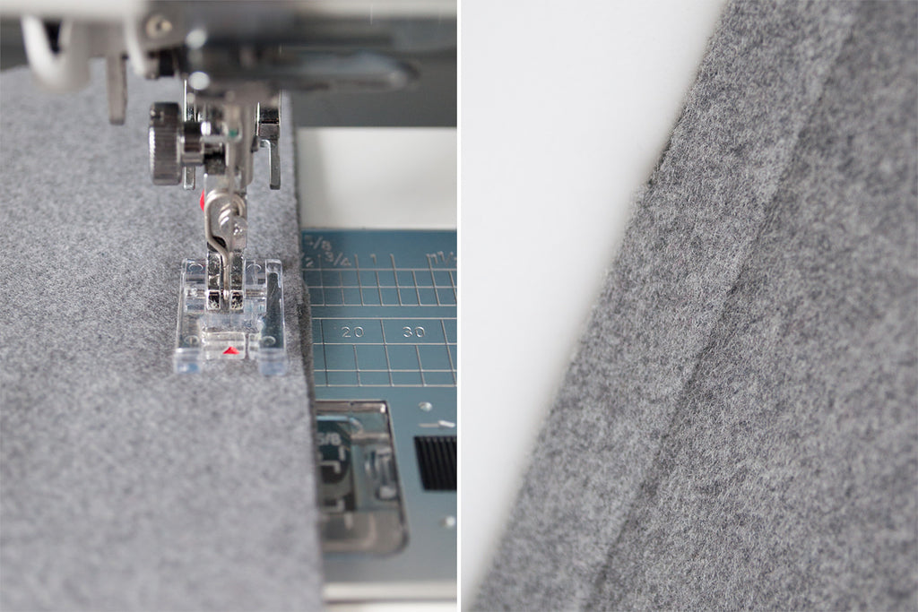 Sewing with wool melton fabric.