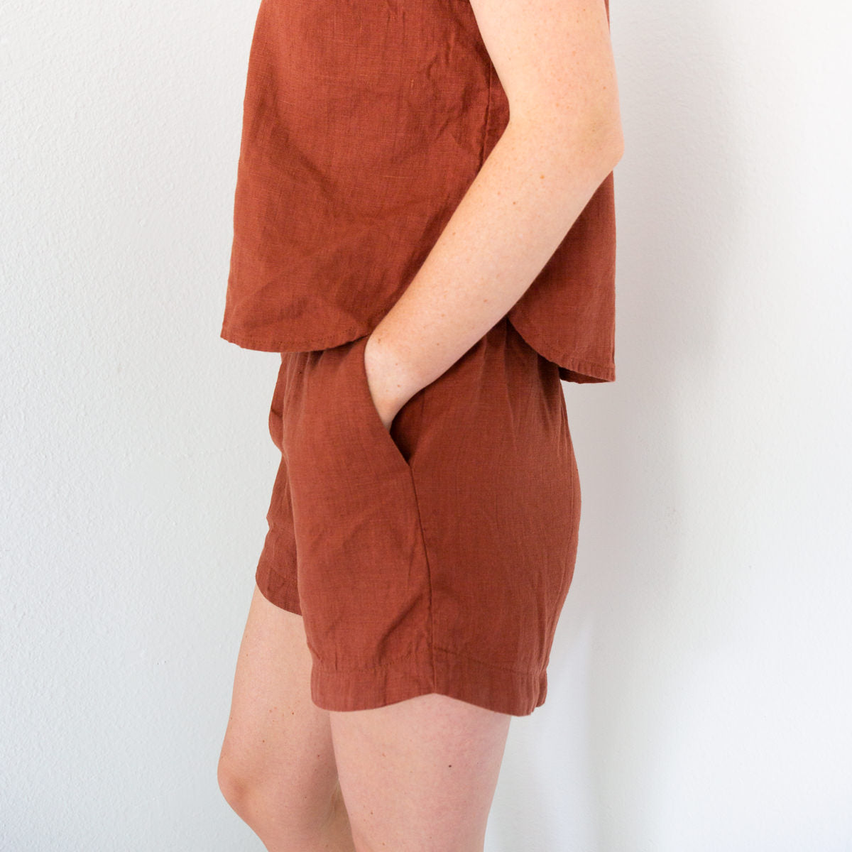 Linen Coram Top and Spring Shorts | Handmade Outfit