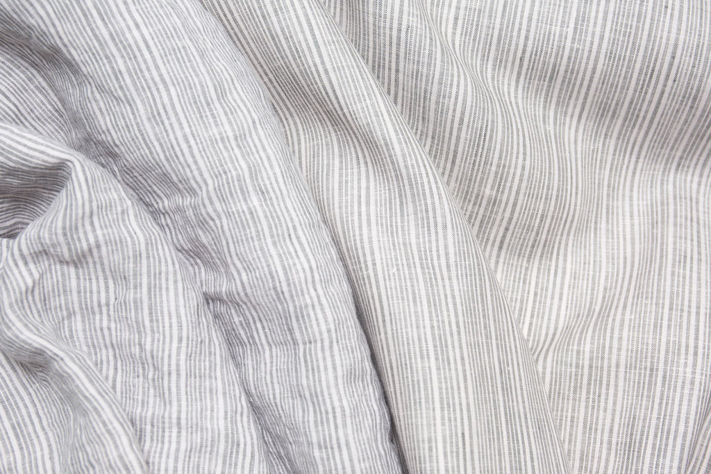 Grey Striped Linen Fabric | Softens when washed.