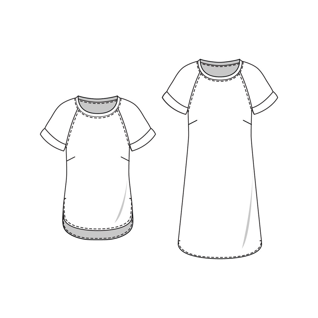 Coram Top and Dress Sewing Pattern Line Drawings